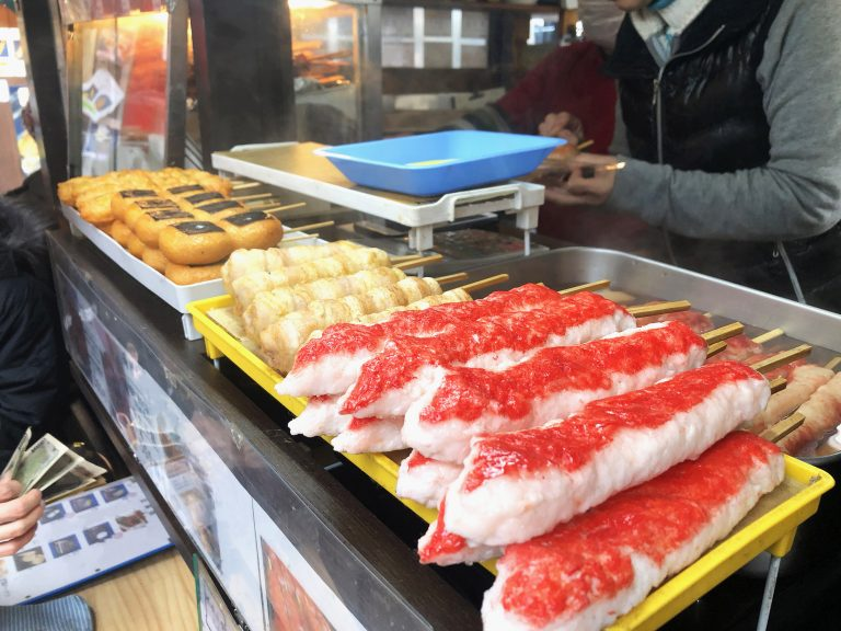 Seafood Street food in Tsukiji Fish Market, Japan.